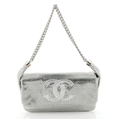 Chanel Rodeo Drive Flap Bag Perforated Leather Medium Silver 443363