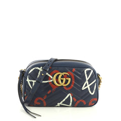 Gucci GG Marmont Shoulder Bag GucciGhost Matelasse Leather Small Blue 443391