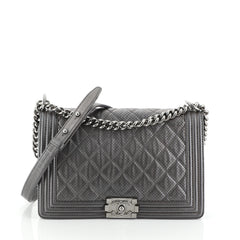Chanel Boy Flap Bag Quilted Perforated Lambskin New Medium