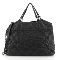 Chanel CC Sea Hit Tote Quilted Iridescent Calfskin Large Black 443521