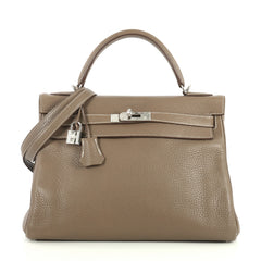Hermes Kelly Handbag Grey Clemence with Palladium Hardware 32 Neutral 443631