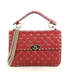 Valentino Rockstud Spike Flap Bag Quilted Leather Medium Red 443661