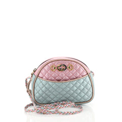 Gucci Camera Shoulder Bag Quilted Laminated Leather Mini Blue 4438011