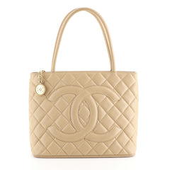 Chanel Medallion Tote Quilted Caviar Brown 443801