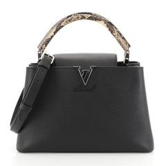 Louis Vuitton Capucines Handbag Leather with Python PM Black 4438513