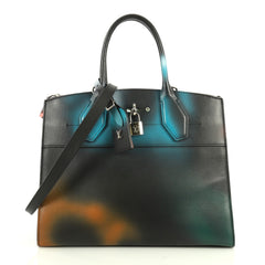 Louis Vuitton City Steamer Handbag Hologram Print Leather MM Black 4438517