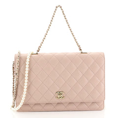 Chanel Fantasy Pearls Flap Bag Quilted Lambskin Large Pink 4438529
