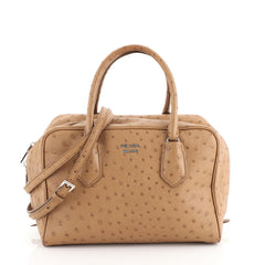 Prada Inside Bauletto Bag Ostrich Medium Brown 4438533