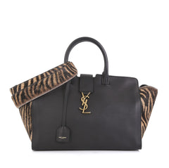 Saint Laurent Monogram Cabas Downtown Leather with Calf Hair Baby Black 4438539