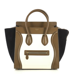 Celine Tricolor Luggage Handbag Leather Mini Brown 4438540
