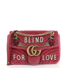 Gucci GG Marmont Flap Bag Embroidered Matelasse Velvet Medium Pink 4438556