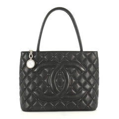 Chanel Medallion Tote Quilted Caviar Black 4439410