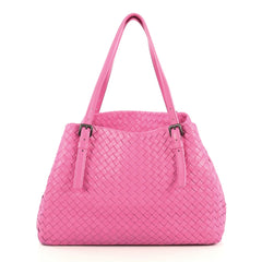 Bottega Veneta A-Shape Tote Intrecciato Nappa Medium Pink 444006