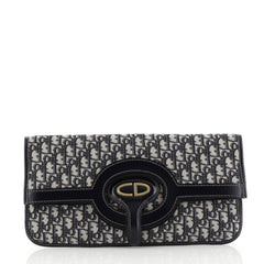 Christian Dior Fold Over Clutch Oblique Canvas Blue 444091