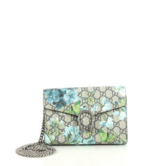 Gucci Dionysus Chain Wallet Blooms Print GG Coated Canvas Small Blue 4441001