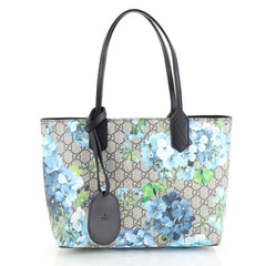 Gucci Reversible Tote Blooms GG Print Leather Small Blue 444131
