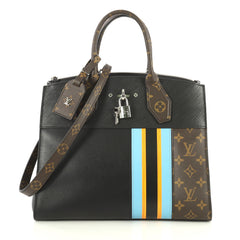 Louis Vuitton City Steamer Handbag Limited Edition Monogram Canvas and Leather MM Black 4444402