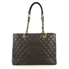 Chanel Grand Shopping Tote Quilted Caviar Brown 444531