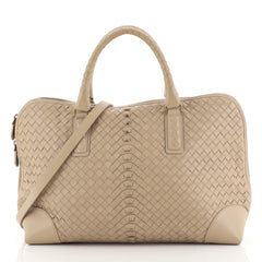Bottega Veneta Convertible Zip Around Satchel Intrecciato Nappa Large Neutral 444532