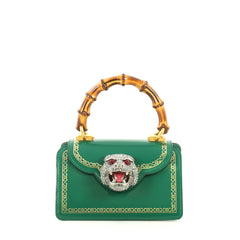 Gucci Thiara Top Handle Bag Frame Print Leather Small Green 444625