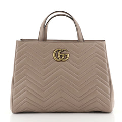 Gucci GG Marmont Tote Matelasse Leather Medium Neutral 444627