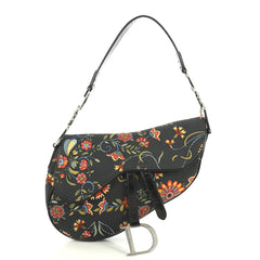 Christian Dior Vintage Saddle Bag Printed Canvas Medium Black 444641