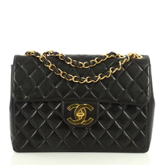 Chanel Vintage Classic Single Flap Bag Quilted Lambskin Jumbo Black 44...