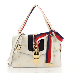 Gucci Sylvie Shoulder Bag Printed Leather Small White 44471108