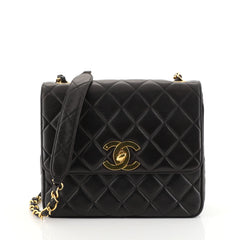 Chanel Vintage Square CC Flap Bag Quilted Lambskin Medium Black 44471121