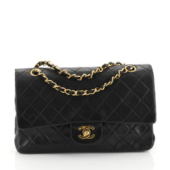 Chanel Vintage Classic Double Flap Bag Quilted Lambskin Medium Black 44471127