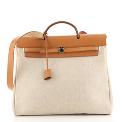 Hermes Herbag Toile and Leather MM Neutral 44471153