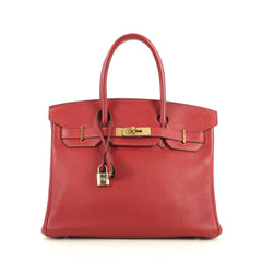 Hermes Birkin Handbag Red Clemence with Gold Hardware 30 Red 44471154