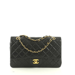 Chanel Vintage Classic Double Flap Bag Quilted Lambskin Medium Black 4...