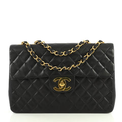 Chanel Vintage Classic Single Flap Bag Quilted Lambskin Maxi Black 444...