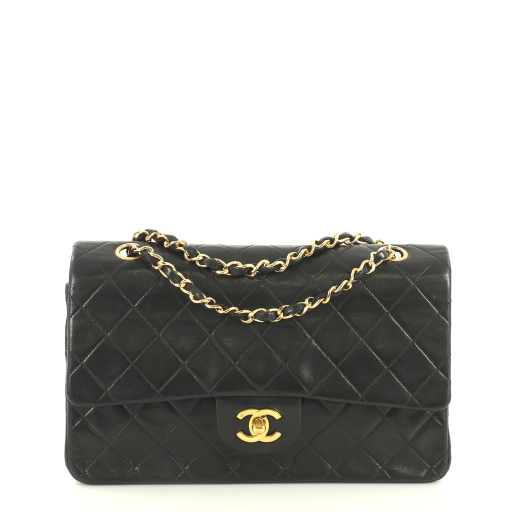 049bf2f8726cb Chanel Vintage Classic Double Flap Bag Quilted Lambskin Medium Black  44471165 – Rebag