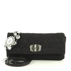 Miu Miu Crystal Clutch Matelasse Fabric Medium Black 44471175