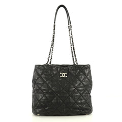 Chanel Ultimate Stitch Zip Tote Quilted Leather Medium Black 4447119