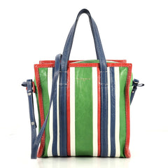 Balenciaga Bazar Convertible Tote Striped Leather Small Blue 4447125