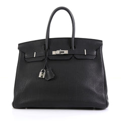 Hermes Birkin Handbag Black Togo with Palladium Hardware 35 Black 4447127