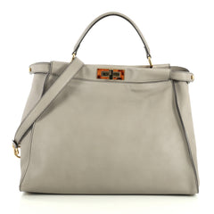 Fendi Peekaboo Bag Leather with Tortoise Detail Large Gray 4447140