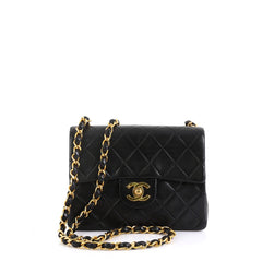 Chanel Vintage Square Classic Single Flap Bag Quilted Lambskin Mini Bl...