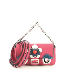 Fendi Monster Baguette Leather and Fur Micro Pink 4447143