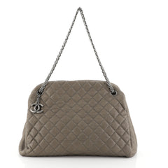 Chanel Just Mademoiselle Bag Quilted Caviar Large Neutral 4447155