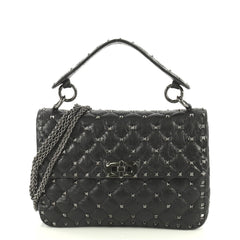 Valentino Rockstud Spike Flap Bag Quilted Leather Medium Black 4447170