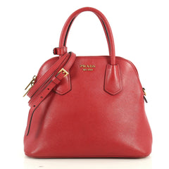 Prada Cuir Convertible Dome Tote Saffiano Leather Medium Red 4447189