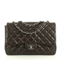 Chanel Vintage Classic Single Flap Bag Quilted Caviar Jumbo Brown 444731