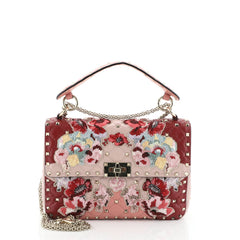 Valentino Rockstud Spike Flap Bag Embroidered Quilted Leather Medium Pink 444791
