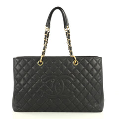 Chanel Grand Shopping Tote Quilted Caviar XL Black 444871