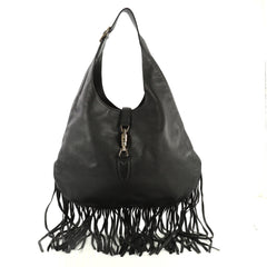 Gucci Nouveau Fringe Jackie Hobo Leather Black 444901