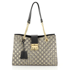 Gucci Padlock Chain Tote Printed GG Coated Canvas Medium Brown 444931
